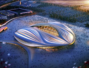 The render of the Wakrah Stadium, designed by Zaha Hadid. Photo Courtesy: http://www.zaha-hadid.com/
