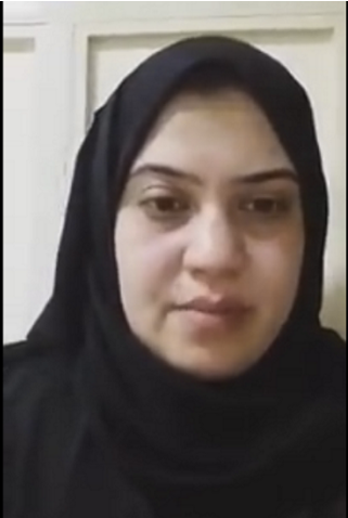Screenshot of Asma Abdelfattah Kami's interview with a TV channel.