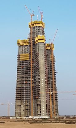 Completion of the Jeddah Tower has been delayed due to the BinLadin Group's financial problems.