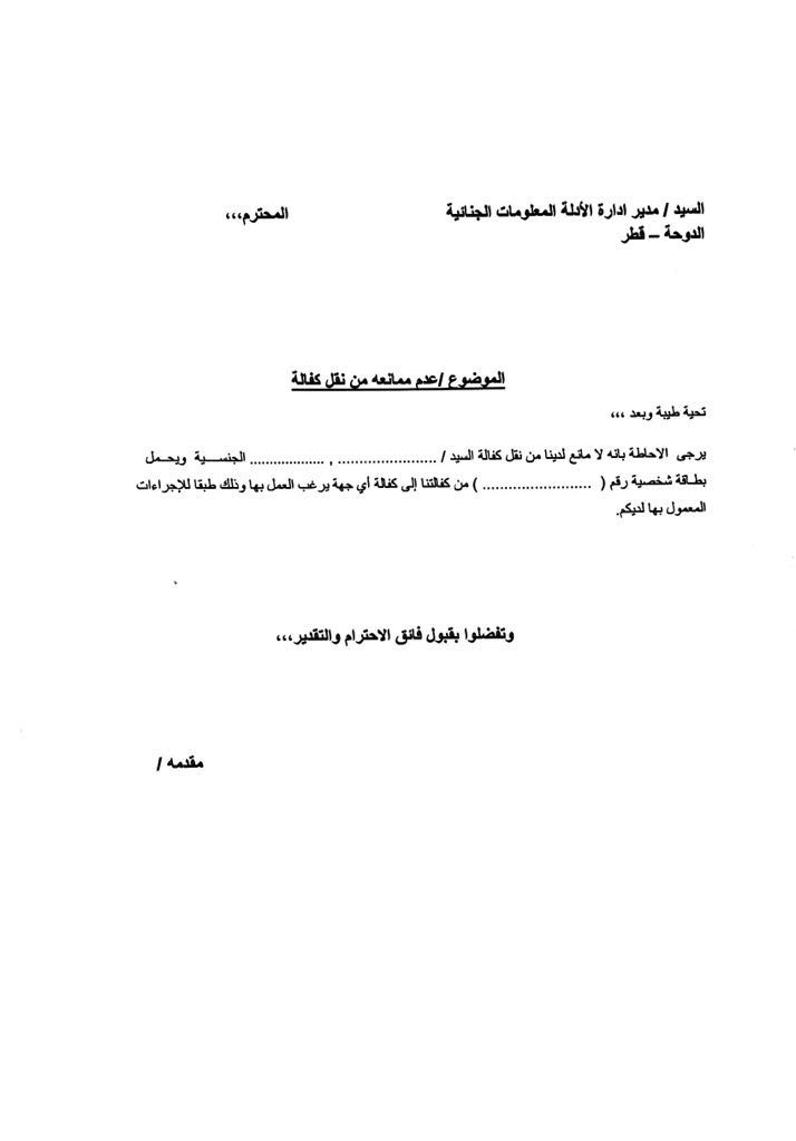 To change jobs in qatar you still need a no objection letter the no objection letter template in pic that a sponsor has to altavistaventures Image collections