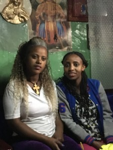 Saba (L) and Salam are returnees who are considering re-migrating as options are limited in Ethiopia