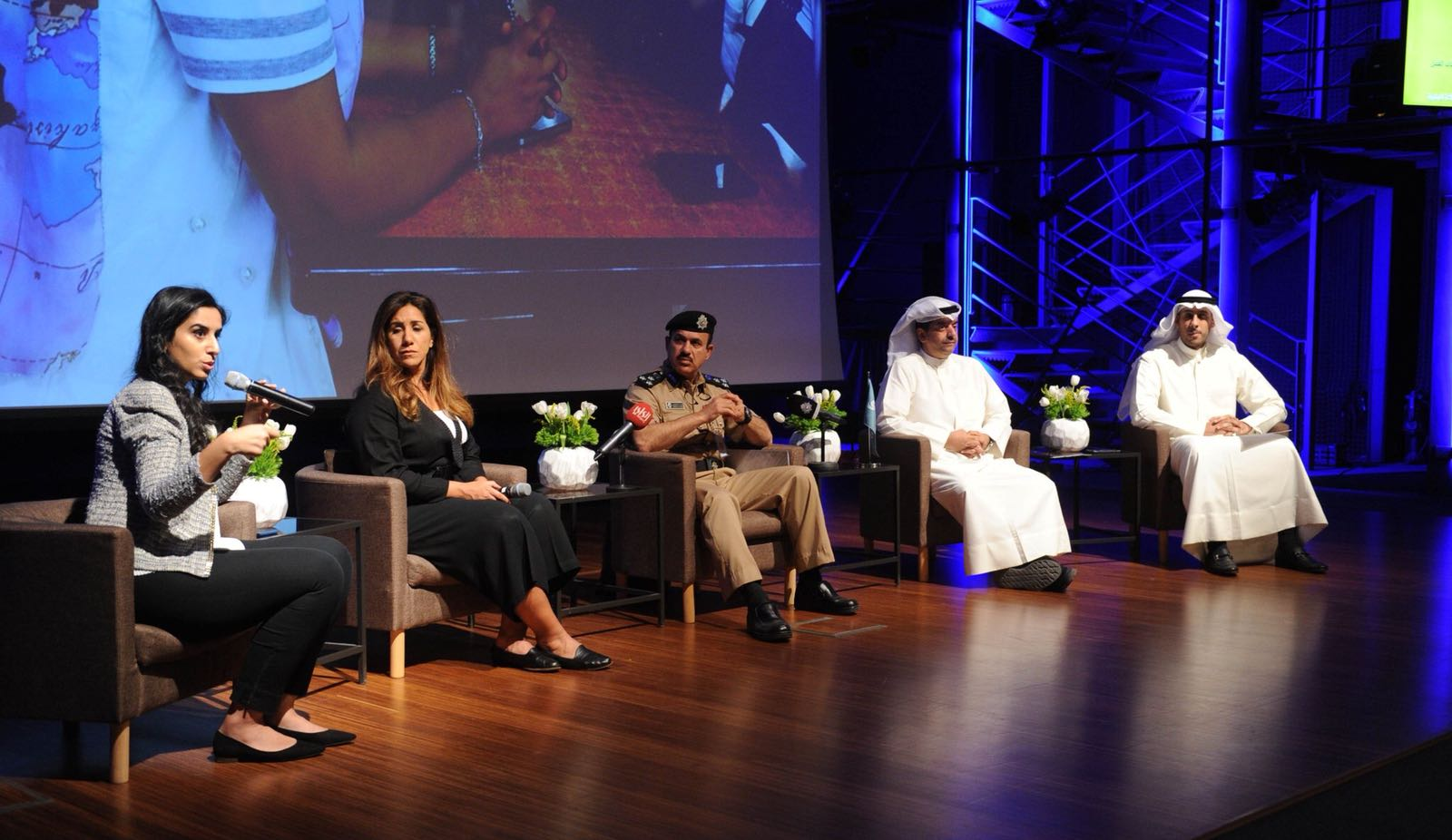From Left to Right: Louloua Al Rodaini, Human Line Organisation; BiBi Al Sabah, Social Work Society, Brigadier Tahweed al Kandari, Public Relations and Security Information Department  Waleed Al Kashti, Zain; Abdullatif Al Sharekh, Al Ghanim Industries;