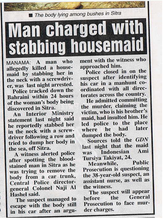Indonesian maid stabbed in Bahrain